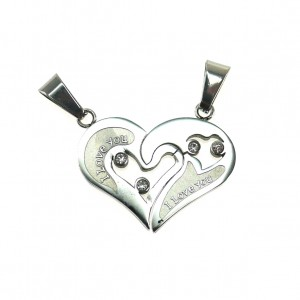 3872IST, Couple Heart Pendant with Stone