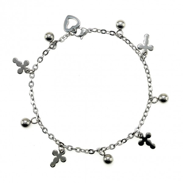 4758ist Heart And Cross Charm Bracelet