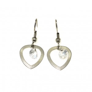 3867IST, Heart earring with Floating CZ Stone